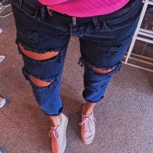 Denim - Gray ripped boyfriend jeans